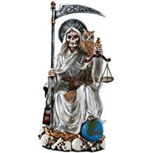 Santa Muerte Saint of Holy Death Seated Religious Statue 9 Inch Purification (White)