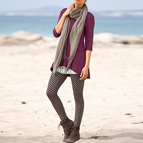 Mujer O 4 OverDose para 3 Cuello Irregular Blusas Púrpura Mangas Top AEExpHwZqn