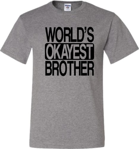 Large Oxford Adult World''s Okayest Brother Funny T-Shirt