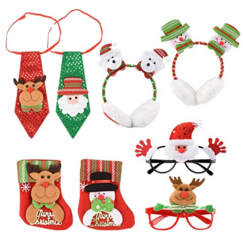 Christmas Funny Glasses,Tie,Earmuffs,Mini Candy Bag for Kid Christmas Costume Ornaments Party Decoration Gifts