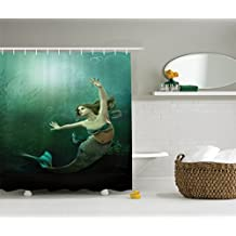 Mermaid Shower Curtain Decorations by Ambesonne, Computer Graphics of Mermaid Underwater Picture Like Design, Polyester Fabric Bathroom Shower Curtain Set with Hooks, Darksea Green