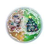 Cyhulu Christmas Slime Putty, Xmas Tree Snowman Santa Claus Elk Clay Fun Toys, Party Birthday Favors for Kids Best Christmas Stress Relief Gifts (Brown Green, One size)