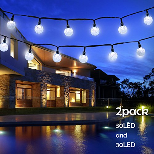 Lalapao Globe String Lights 2 Pack Solar Powered Outdoor Lights 30 LED 19.7ft Crystal Ball Fairy String Light for Christmas Xmas Tree Garden Path Patio Home Lawn Holiday Wedding Decor Party (White) (For Ideas Patios Small Landscape)