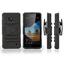 Nokia Lumia 550 Holster, BoxWave® [Dual+ Max Holster] Shell Cover and Belt Clip Holster with Kickstand for Nokia Lumia 550 - Pitch Black