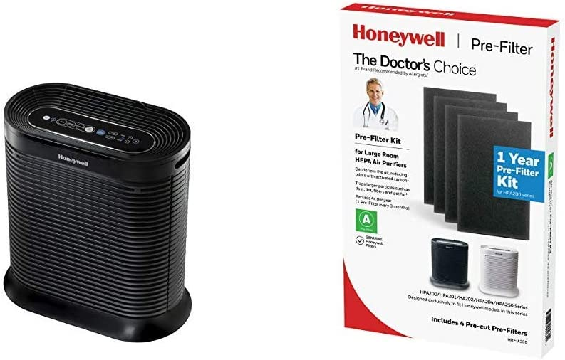HONEYWELL Blue Tooth Air Purifier, HPA-250B, HPA250B, Black with Bluetooth HRF-A200 Pre Kit, 4 Pack air Purifier Filter, Black