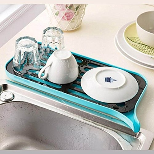 Ayutthaya Shop Multifunctional Double Layer Kitchen Drain Shelf Sink Draining Rack Tray Dish Bowl Storage Holder Vegetable Fruits Draing Board ( blue ) - Double Compartment Mobile Tray Rack