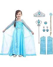 URAQT Elsa Prinsessen Kostuum, Elsa Anna Prinsessenjurk Meisjes met Accesoires, Jurk Meisjes voor Feest Kerstmis Carnaval Party Halloween Verjaardagsfeest