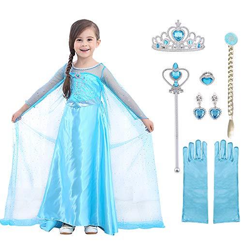 URAQT Elsa Prinsessen Kostuum, Elsa Anna Prinsessenjurk Meisjes met Accesoires, Jurk Meisjes voor Feest Kerstmis…