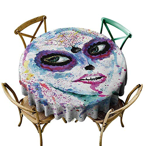 Tablecloth Round Girls,Grunge Halloween Lady with Sugar Skull Make Up Creepy Dead Face Gothic Woman Artsy,Blue Purple D65,Table Cover for Outdoor and Indoor -