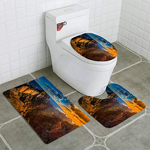 BEISISS Bathroom Mat Sets 4 Piece-Non-Slip - Short Plush Grand Canyon North Rim Cape Royal Overlook at Sunset Bathroom Rug + Contour pad + lid Toilet seat+Toilet seat Cushion