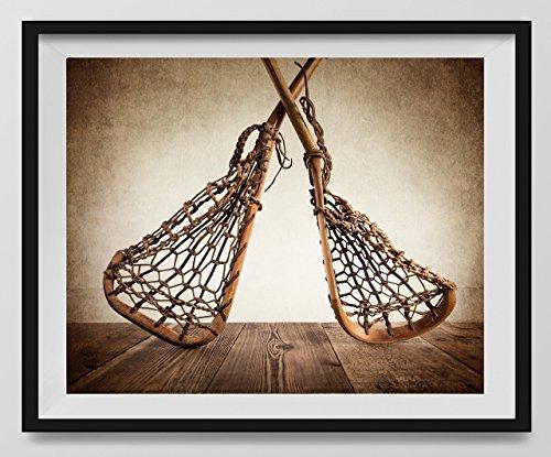 Vintage Lacrosse sticks Crossed Upside Down on Vintage Background (UNFRAMED) Fine Art Photography Print, Lacrosse Artwork, Lacrosse Sticks, Lacrosse Photos