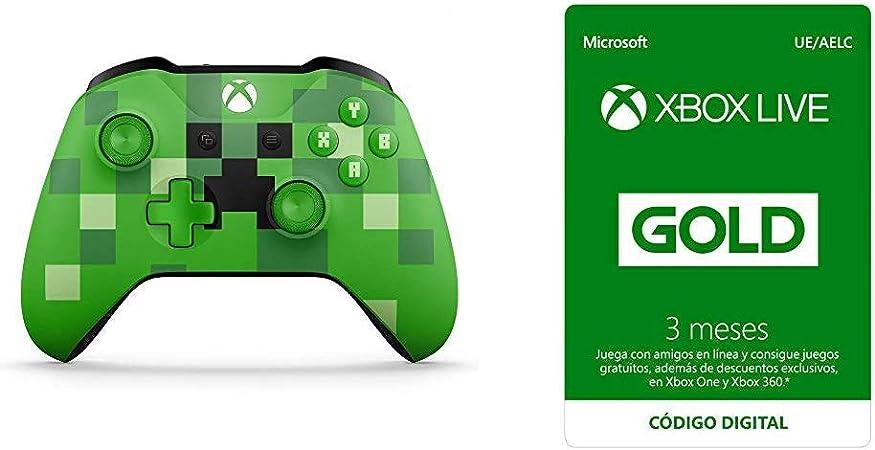 Microsoft - Mando Inalámbrico: Edición Limitada Minecraft Creeper (Xbox One) + Suscripción Xbox Live Gold - 3 Meses: Amazon.es: Videojuegos