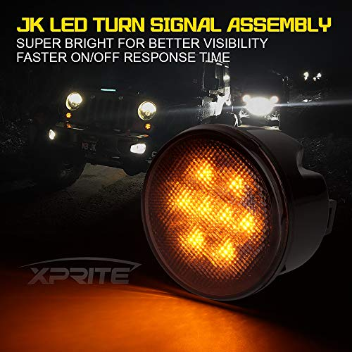 Xprite LED Turn Signal Light for 2014-2018 Jeep Wrangler JKJKU, Smoked Lens Replacement Side Marker Signals Lights Assembly