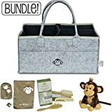 Diaper Caddy Organizer + Wooden Hair Brush + Stuffed Monkey Bundle (Grey) | Includes Bonus Bib Set | Great Gift for Any Registry or Baby Shower!