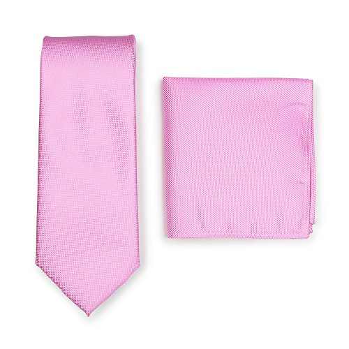 Bows-N-Ties Men's Solid Necktie and Pocket Square Set Matte Microtexture Finish (Carnation Pink)