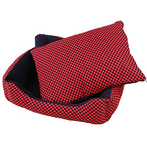 (YQSMYSW Sofa Kennel Waterproof Dog Pet Cat Bed Mat Cushion Washable Ultra-Soft Plush Fabric Soft Cover Black with Red 50X40X19CM for Cat/Dog)