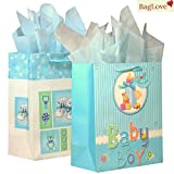 BagLove Large Baby Boy Gift Bag with Tissue Paper (2 Pack) 10.5' x 13' x 5.5' Perfect for Birthdays, Baptism, Christenings and Baby Showers