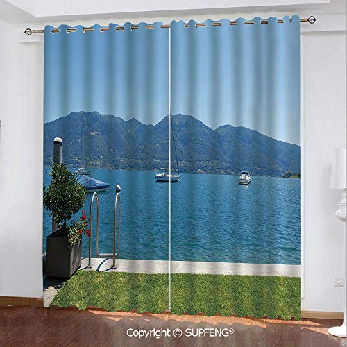 FashSam Blackout Curtain Architecture Outdoor Terrace by The Lake with Green Garden Sail Boats Leisure (2 Panels Measures: 84W x 63L Inch) Privacy Excellent Touch Environmentally Friendly