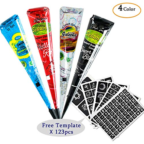 Henna Tattoos Kit -Tattoo Paste Cone 4Pcs Temporary Tattoo Body Art Painting Drawing with 123 pcs Free Henna Stencil Set,Black,White,Red,Blue (4Pcs)