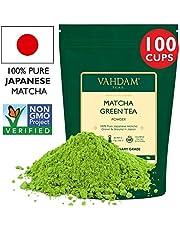 VAHDAM, Matcha-Grünteepulver (255gr 100+ Tassen), 100% zertifiziertes reines und ungemischtes japanisches Matcha-Pulver,klassischer kulinarischer Matcha-Te | 137x Anti-OXIDANT | Steigert die Energie