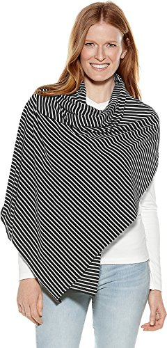 Coolibar UPF 50+ Women's Everyday Beach Shawl - Sun Protective (One Size- Black/White Stripe)