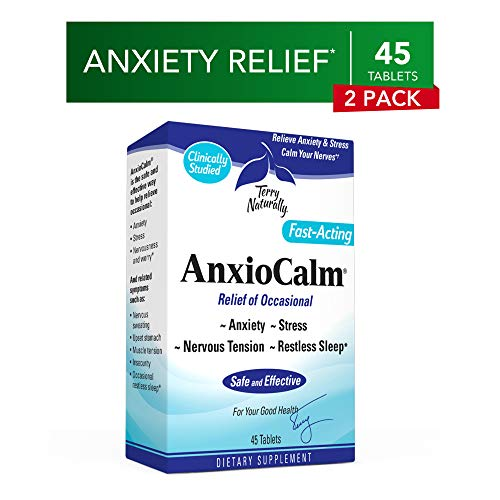 Terry Naturally AnxioCalm (2 Pack) - 40 mg Echinacea Angustifolia, 45 Tablets - Non-Addictive Anxiety & Stress Relief Supplement, Non-Drowsy - Non-GMO, Gluten-Free - 45 Total Servings