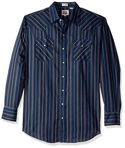 Ely & Walker Men's Size Long Sleeve Stripe Western Shirt-Tall, Navy, 2X-Large