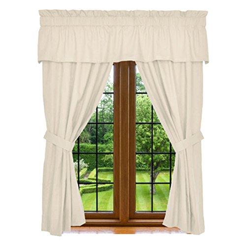 "Window Curtain - 5 Piece Set, 2 Panels 84"" X 42"", 15"" X 80"" Valance, and 2 Tie Backs, Beige Cream, 100% Microfiber, Machin Washable, By Clara Clark"