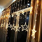 Kanzd 2.5M 138LED Star Christmas Wedding Party Xmas Curtain Fairy String Lights Holid (Warm White)