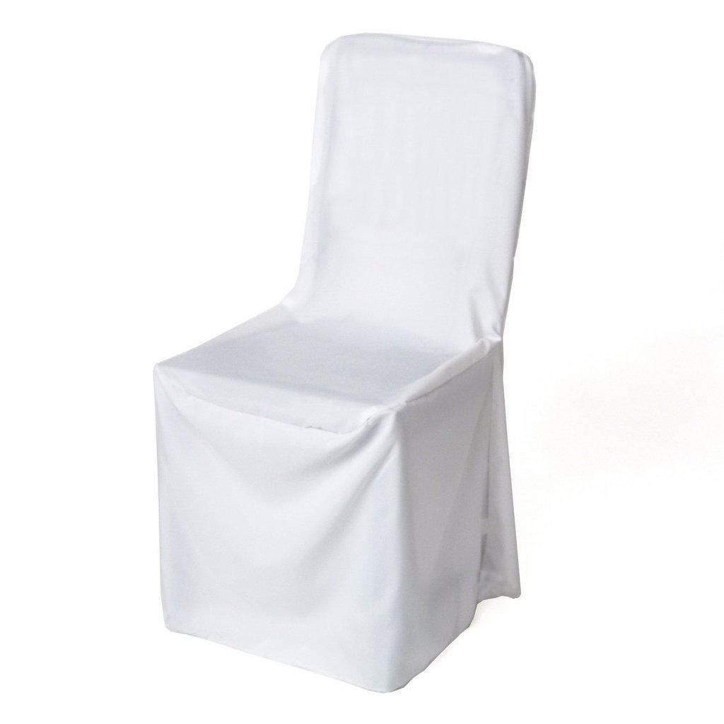 Elina Home Pack of 20 Polyester Square top Banquet Chair Cover Wedding Party Decorations Chair Covers (20, White)