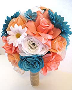 Amazon.com: Wedding Silk flowers Bouquet Bridal CORAL ...