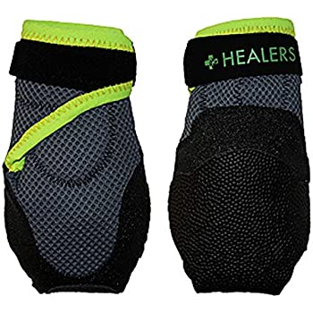 Healers Dog Boots for Paw Protection with Non Slip Sole, Reflective Pet Booties, 1-Pair, Black, XL