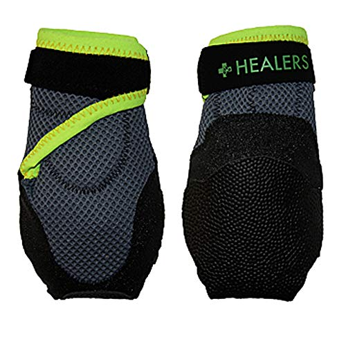 - Healers Dog Boots for Paw Protection with Non Slip Sole, Reflective Pet Booties, 1-Pair, Black, XL