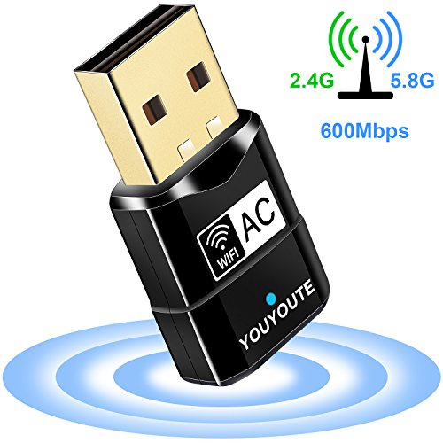 600Mbps USB Wifi Adapter, YOUYOUTE Dual Band 2.4G/ 5G USB 2.0 Wireless Wifi Dongle Adapter for Laptop Destop Win XP/7/8/10, Mac OS X 10.4-10.12.2 by YOUYOUTE