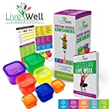 Portion Control Containers 7 Pieces Multi-Colored with BONUS GUIDE Planner & Recipes eBook - Comparable to 21 Day Fix - Diet & Weight Loss - Premium Quality 100% Lifetime Guarantee by Live Well Inc