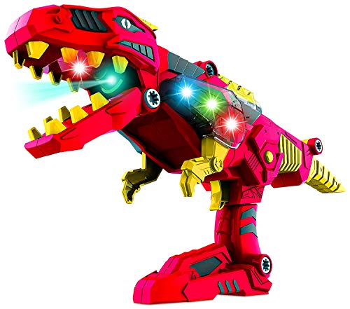 DinoBlaster 2 in 1 Transforming Dinosaur Toy Gun TG662 - Build & Take Apart Cool Tyrannosaurus Rex Dinosaur Toy for Boys & Girls Age 3 4 5 by ThinkGizmos (Trademark Protected)
