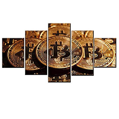 HQATPR Nordic Art Deco de la Pared 5 Unidades Bitcoin Moneda ...