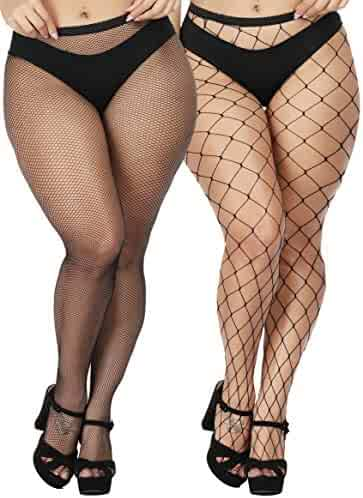 3cfb555612b TGD Women s Sexy Fishnet Tights Pantyhose Net Plus Size Thigh High Stockings  2Pairs