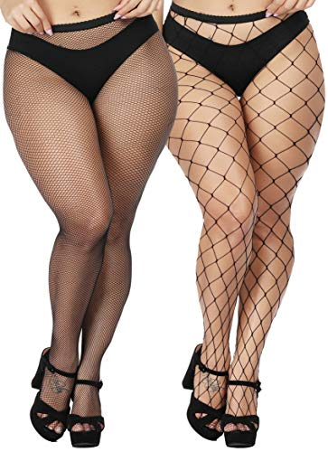 Fishnet Design (TGD Women's Sexy Fishnet Tights Pantyhose Net Plus Size Thigh High Stockings 2Pairs(Big-Small))