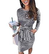 PRETTYGARDEN Women's 2021 Casual Long Sleeve Party Bodycon Sheath Belted Dress