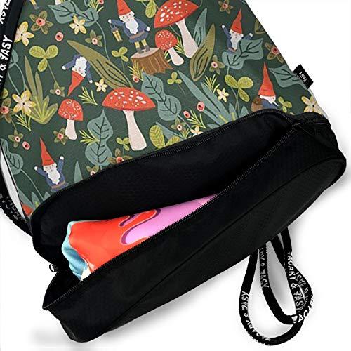 93cd13ae90bc Woodland Gnomes Drawstring Bag Rucksack Shoulder Bags Travel Sport Gym Bag  Print - Yoga Runner Daypack Shoe Bags with Zipper and Pockets