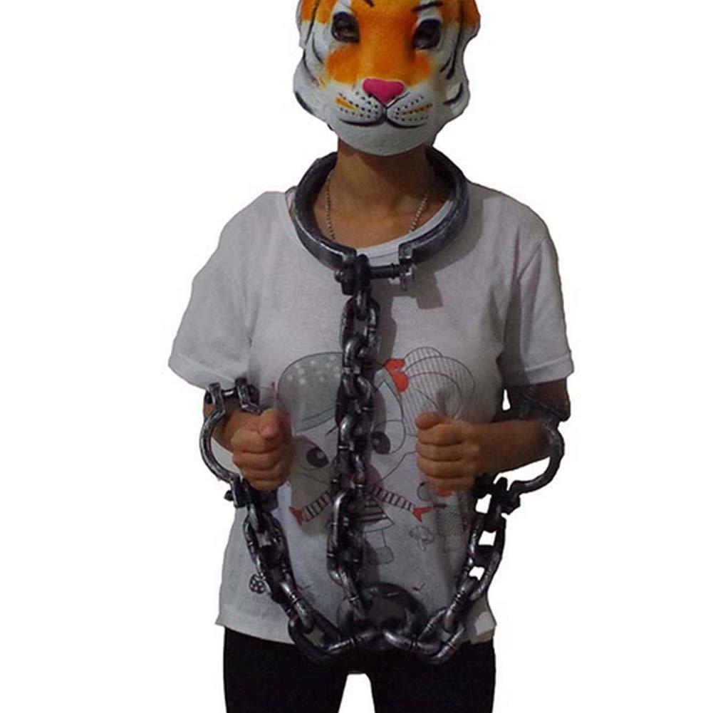 BIG SALE 3 pc Prisoner Jail House Men/'s Halloween Costume Shirt Handcuffs Mask