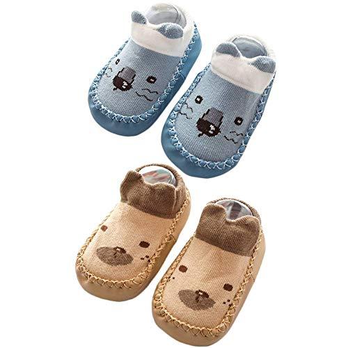 (Baby Slipper Socks Shoes for Toddler Boys Girls Blue Brown 12-18 Months)