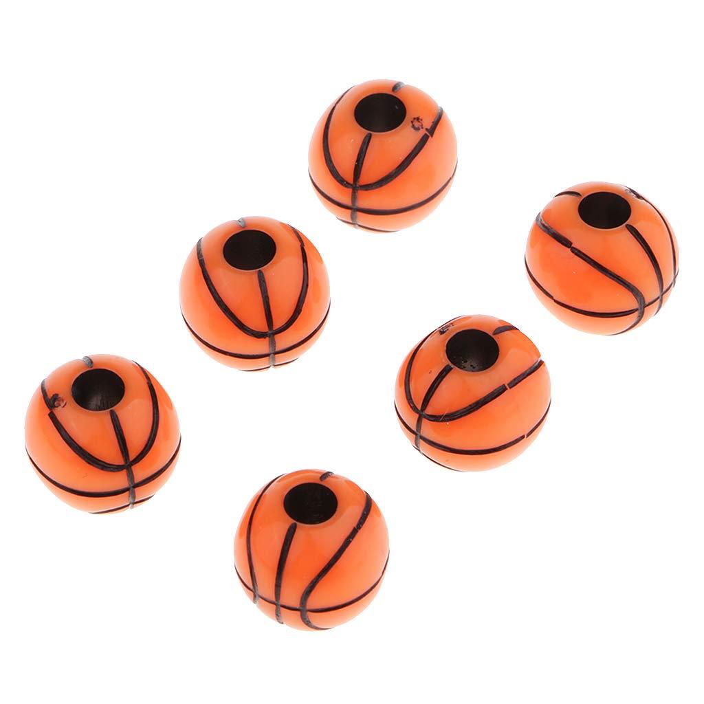 Baoblaze 60 Unidades Resina Bola Baloncesto Perla Ronda Espaciador Cuentas Sueltas Fabricaci/ón de Joyas Caf/é