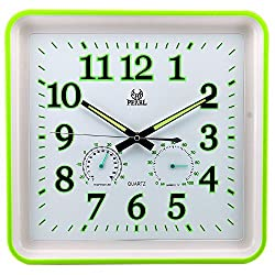 13 Inch Modern Non Ticking Silent Luminous Temperature Humidity Quartz Analog Digital Square Wall Clock (Green)