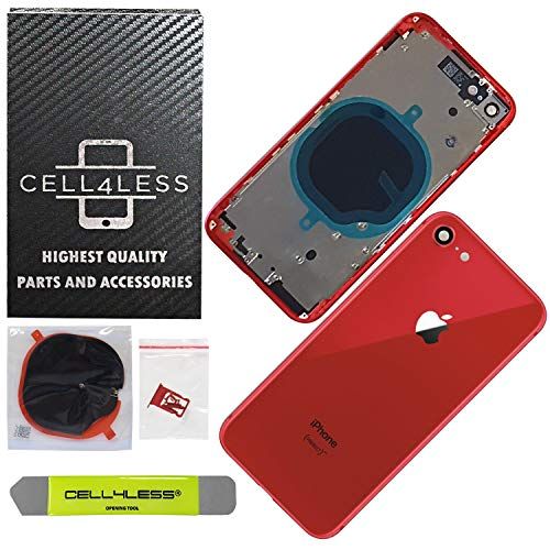CELL4LESS Back Housing Assembly Metal Frame w/Back Glass - Wireless Charging pad - Sim Card Tray, Camera Frame and Lens for iPhone 8 (Red) - Housing Products