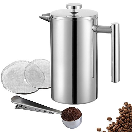 Miuly Stainless Steel Cafetiere Gift Set, 3 Cup Cafetiere, Double Walled for Insulation, Includes Measuring Spoon and Two Extra Fliters,350 ml 12 oz