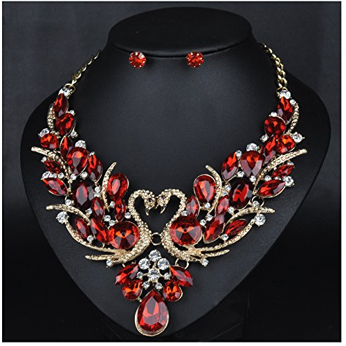 WCHUANG Handmade Bib Pendant Crystal Statement Choker Necklace and Earrings Jewelry Sets for Women (RED) (Handmade Studded Bib)