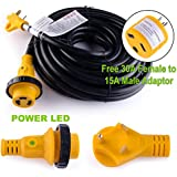 LeisureCords 50 Power / Extension Cord with 30 AMP Male Standard/30AMP Female Locking Adapter
