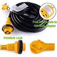 Leisure RV 50 Power / Extension Cord with 30 AMP Male Standard/30AMP Female Locking Adapter